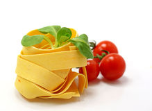 Pasta ingredients. On white background royalty free stock photos