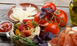 Pasta and Ingredients Royalty Free Stock Image