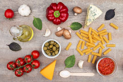 Pasta ingredients background Stock Photography