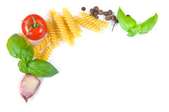 Pasta ingredients border Stock Images