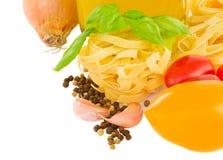 Pasta ingredients border Stock Photos