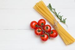 Pasta ingredients concept on white background, top view royalty free stock photos