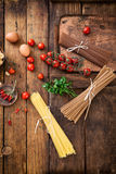 Pasta with ingredients Stock Image