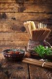Pasta with ingredients Stock Photo