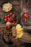 Pasta with ingredients Royalty Free Stock Photo