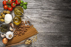Pasta with ingredients Stock Images