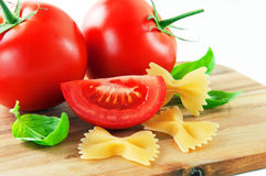 Pasta with ingredients Stock Photos