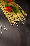 Pasta Ingredients over Dark Background Royalty Free Stock Image