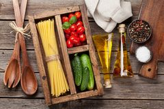 Pasta and ingredients stock photos
