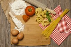 Pasta and ingredients for pasta Stock Photography