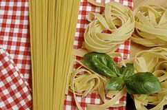 Pasta and ingredients for pasta Royalty Free Stock Image