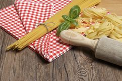 Pasta and ingredients for pasta Royalty Free Stock Images