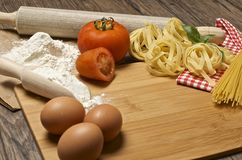 Pasta and ingredients for pasta Stock Images