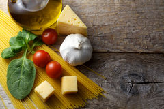 Pasta with ingredients preparation Stock Images