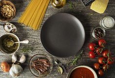 Pasta with ingredients Royalty Free Stock Image