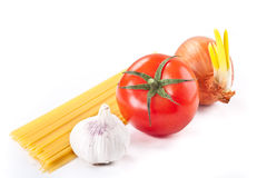 Pasta ingredients. Tometo pasta ingredients on white background Stock Photo