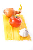 Pasta ingredients. Tometo pasta ingredients on white background Royalty Free Stock Photography