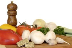 Pasta ingredients, vegetables Royalty Free Stock Image