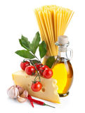 Pasta ingredients  on white Stock Images