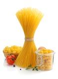 Pasta ingredients  on white Stock Photos