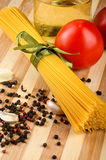 Pasta ingredients on wooden tray Royalty Free Stock Image