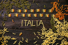 Pasta italian flag. Italian cooking. Pasta in italian flag colors. Tricolori pasta fusili stock images