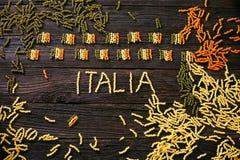 Pasta italian flag. Italian cooking. Pasta  in italian flag colors. Tricolori pasta fusili Stock Images
