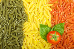 Pasta Italian flag with tomato and basil Stock Photography