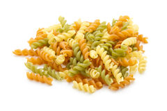 Pasta. Italian pasta fusilli  on white background Royalty Free Stock Image