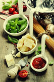 Pasta and italian ingredients Stock Photography
