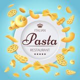 Pasta italian restaurant traditional kitchen food vector background Royalty Free Stock Photos