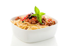 Pasta with italian sausage Stock Images
