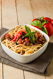 Pasta with italian sausage meat sauce Royalty Free Stock Photo