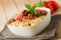 Pasta with italian sausage meat sauce Stock Photography