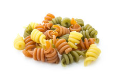 Pasta. Italian spiral pasta isolated on white background Stock Image