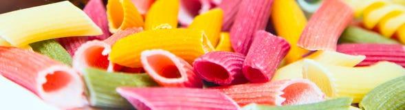 Pasta italiana colorata tre crudi Fotografia Stock Libera da Diritti