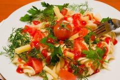 Pasta italiana com vegetais Imagem de Stock