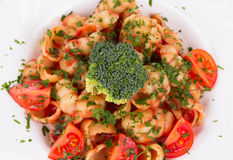 Pasta italiana con broccolo Fotografie Stock