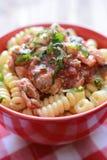 Pasta italiana con carne di pollo e salsa al pomodoro Fotografie Stock Libere da Diritti