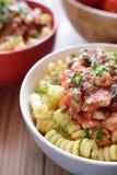 Pasta italiana con carne di pollo e salsa al pomodoro Fotografie Stock