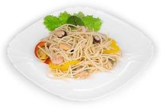 Pasta italiana con frutti di mare come haute cuisine immagine stock libera da diritti