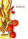 Pasta italiana con i pomodori, freddi Fotografia Stock Libera da Diritti