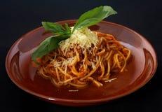 Pasta italiana con il baloneze del souse Fotografia Stock Libera da Diritti