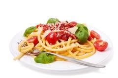Pasta italiana con la salsa di pomodori Immagini Stock Libere da Diritti