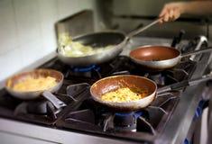 Pasta italiana e salse che cucinano su un bruciatore Fotografia Stock