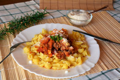 Pasta italiana with meat and tomato sauce and parmesan cheese. Royalty Free Stock Photo