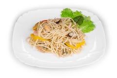 Pasta italiana saporita con frutti di mare come haute cuisine fotografia stock libera da diritti