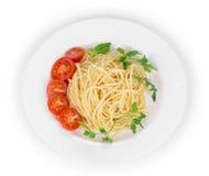 Pasta italiana saporita con frutti di mare come haute cuisine immagine stock