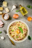 Pasta italiana tradizionale Carbonara Fotografia Stock Libera da Diritti