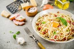 Pasta italiana tradizionale Carbonara Immagine Stock